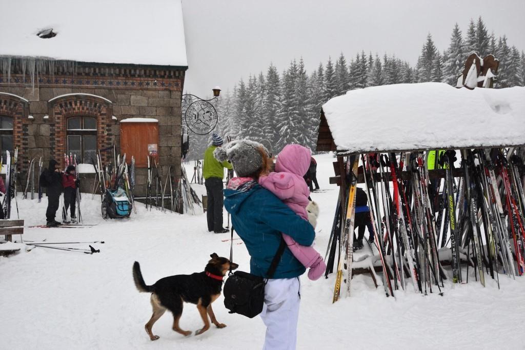 Biegówki to sport dla każdego, Schronisko Orle przeżywa prawdziwe oblężenie, na narty brakuje miejsc na stojakach.