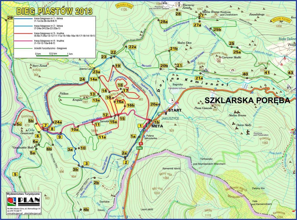 Mapa tras narciarskich Jakuszyce, Wydawnictwo Turystyczne PLAN