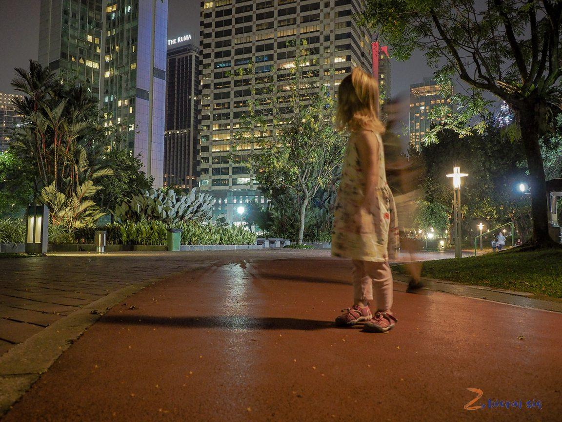 Kuala Lumpur zdziećmi nocą _ Park