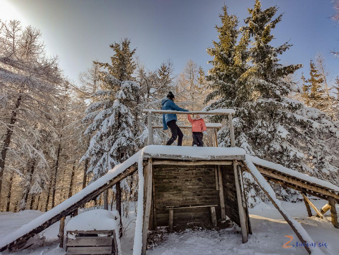 nie tylkosanki naDolnym Śląsku zimą _ punkt widokowy naszczycie Dzikowca