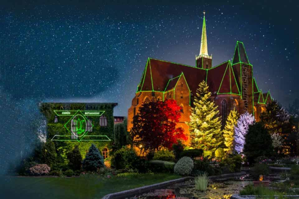 Światłogród, oświetlony ogród botaniczny