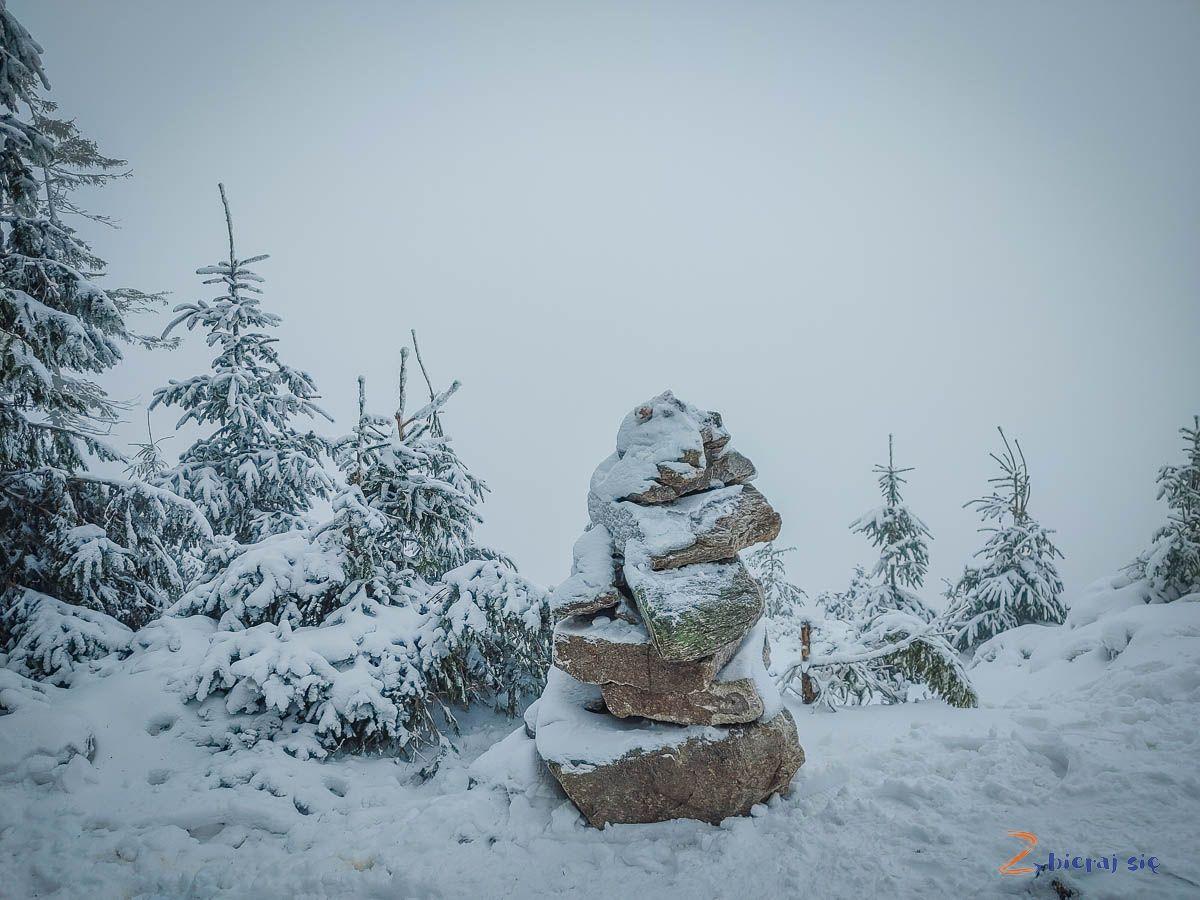 Czarna Góra zimą, okolice górnej stacji wyciągu