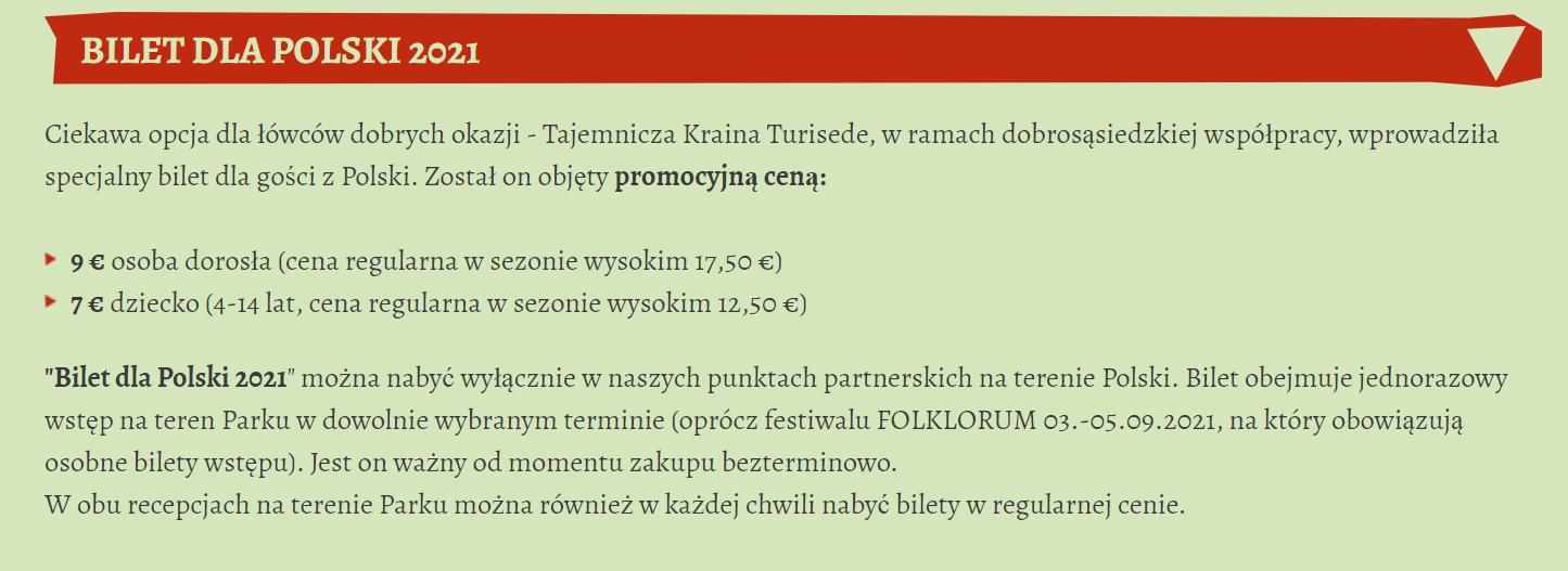 Park Przygody Turisede Cennik dla Polski